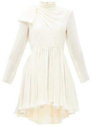 KHAITE Constance Gathered Silk-georgette Mini Dress - Ivory