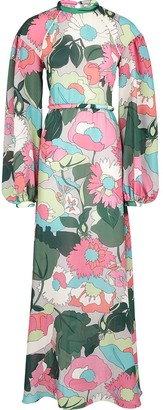 Fendi Floral-Print Ribbed Dress