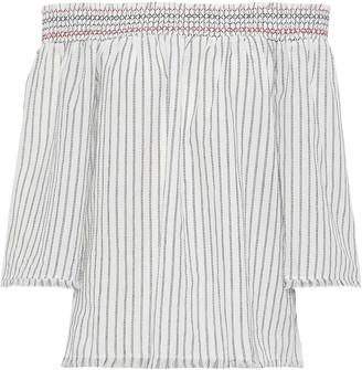 Charli Alisa Off-the-shoulder Striped Cotton-gauze Top