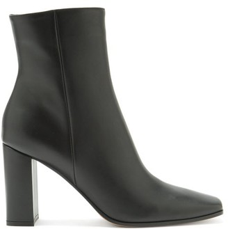 Gianvito Rossi Square-toe 85 Leather Ankle Boots - Black