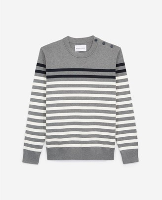The Kooples Striped grey sweater in cotton