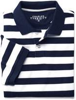 Charles Tyrwhitt Navy and White Stripe Pique Cotton Polo Size Large