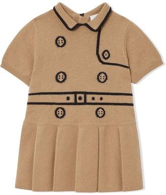 BURBERRY KIDS Trompe LOeil Intarsia Wool Cashmere Trench Dress