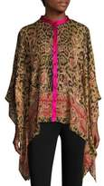 Etro Wool Leopard-Print Poncho