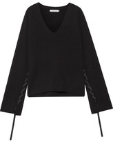 Helmut Lang Ribbon-detailed Wool And Cashmere-blend Sweater - Black