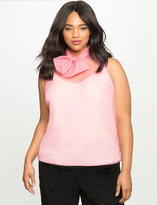 ELOQUII Plus Size Studio Bow Neck Organza Top