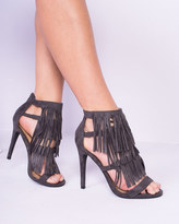 Missy Empire Meara Grey Suede Tassel High Heels