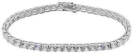 Diamonique Asscher Cut Tennis Bracelet, Platinum Clad