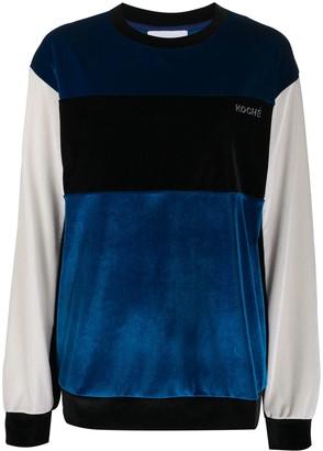 Koché Colour Block Velvet Sweatshirt