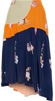 Preen Line Lilja Asymmetric Patchwork Floral-print Crepe De Chine Skirt