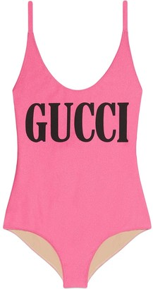 Gucci logo print cross-over strap swimsuit