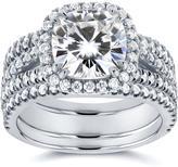 Kobelli Jewelry 3 CT Forever Classic Moissanite and Diamond 14K Gold Cushion Cut 3-Piece Bridal Set