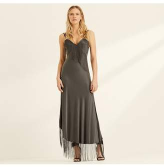 Amanda Wakeley Chain Fringed Satin Slip Dress