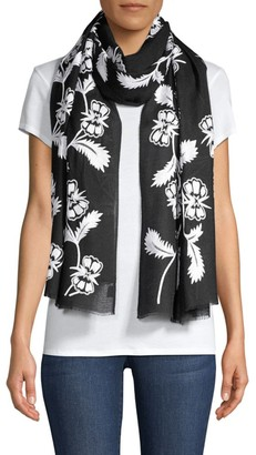 Janavi Monochromatic Flowery Embroidered Cashmere Scarf