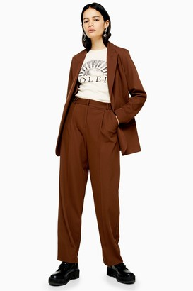 Topshop Womens Brown Pleated Slouch Trousers - Chocolate