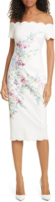 Ted Baker Trixiiy Pergola Floral Off the Shoulder Sheath Dress