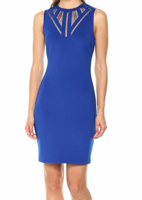 GUESS Women's Cobalt Scuba Dress with A Fun Neckline Detail 2