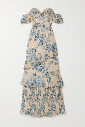 Johanna Ortiz Drapes Of Solitude Off-the-shoulder Cutout Floral-print Silk-crepe Maxi Dress - Blue