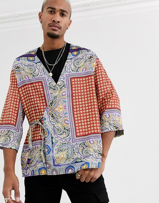 Asos Design DESIGN regular wrap kimono in paisley-Orange