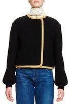 Chloé Bishop-Sleeve Cropped Jacket, Black