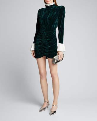 Rotate by Birger Christensen Miki Ruched Velvet Mini Dress