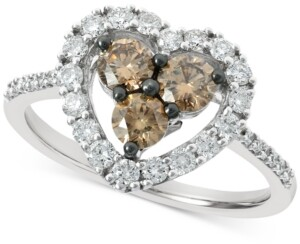LeVian Le Vian Chocolate Diamond (1/2 ct. t.w.) & Nude Diamond (3/8 ct. t.w.) Heart Statement Ring in 14k White Gold