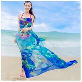 GERINLY - Rosa Print Sarongs Sheer Chiffon Bikini Wrap Shawl