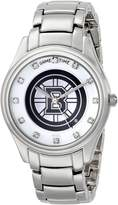 Game Time Women's NHL-WCD-BOS Wildcard Triple Silver Stone Analog Display Japanese Quartz Silver Watch