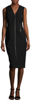 Kimora Lee Simmons V-Neck Leather Trim Sheath Dress