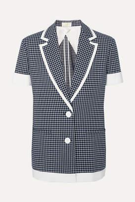 Sara Battaglia Checked Cotton-blend Tweed Jacket - Navy