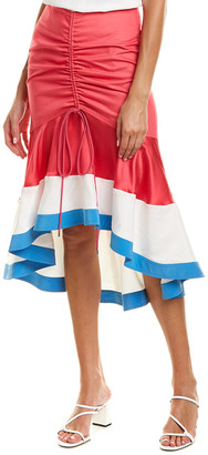 Prabal Gurung Biniod Silk-Trim Pencil Skirt