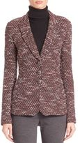 St. John Textured Knit Button-Down Jacket