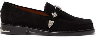 Toga Virilis Western Strap Suede Loafers - Mens - Black