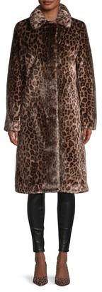 Donna Karan Leopard Faux Fur Coat