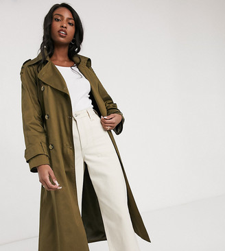 Asos DESIGN Tall longline trench coat in khaki