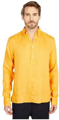 Eton Long Sleeve Popover Linen (Yellow) Men's Clothing