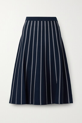 MICHAEL MICHAEL KORS - Striped Jacquard-knit Midi Skirt - Blue