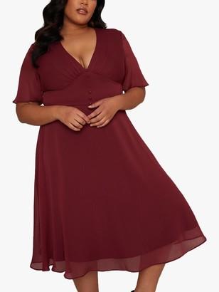 Chi Chi London Curve Emmanuelle Dress, Burgundy