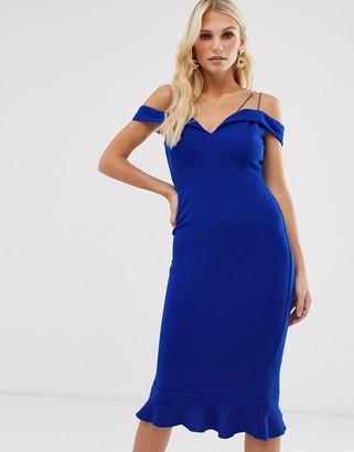 AX Paris frill hem bardot bodycon dress-Blue