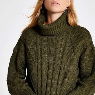 River Island Womens Green cable knitted roll neck crop jumper