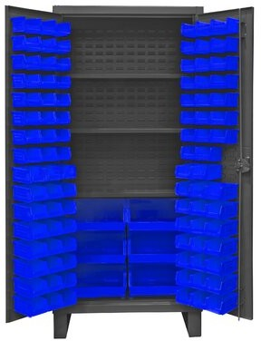 "Durham Manufacturing 78"" H x 36"" W x 24""D Lockable Cabinet Bin Color: Blue"
