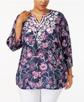 Charter Club Plus Size Floral-Print Embroidered Tunic, Only at Macy's