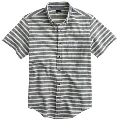 J.Crew Secret Wash short-sleeve shirt in indigo stripe