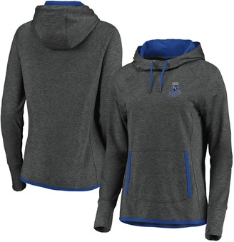 Women's Fanatics Branded Kansas City Royals Charcoal/Royal Cowl Neck Pullover Hoodie