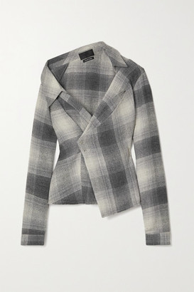 RtA Lizbeth Asymmetric Checked Flannel Wrap Shirt - Gray