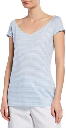 Lafayette 148 New York Reese Stripe Short-Sleeve T-Shirt