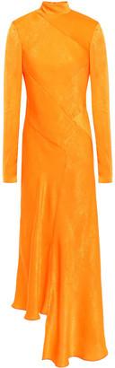 House of Holland Asymmetric Neon Moire Midi Dress