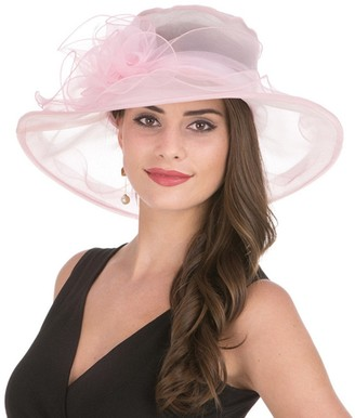Lucky Leaf Women's Organza Church Hat Wide Brim Floral Ribbon Charming Cap for Evening Party (1-Pink)
