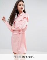 Boohoo Petite Ruffle Detail Shirt Dress