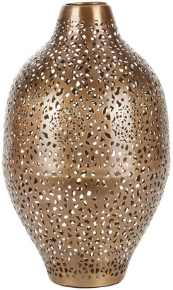 """Willow Row Round Gold Metal Vase with Geometric Cutouts - 10"""" x 17"""""""